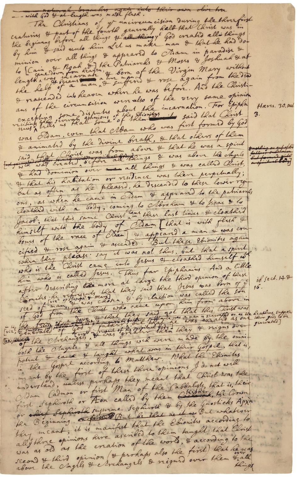 NEWTON, ISAAC. 1642-1726/7. Autograph manuscript in English, exploring the nature of God,