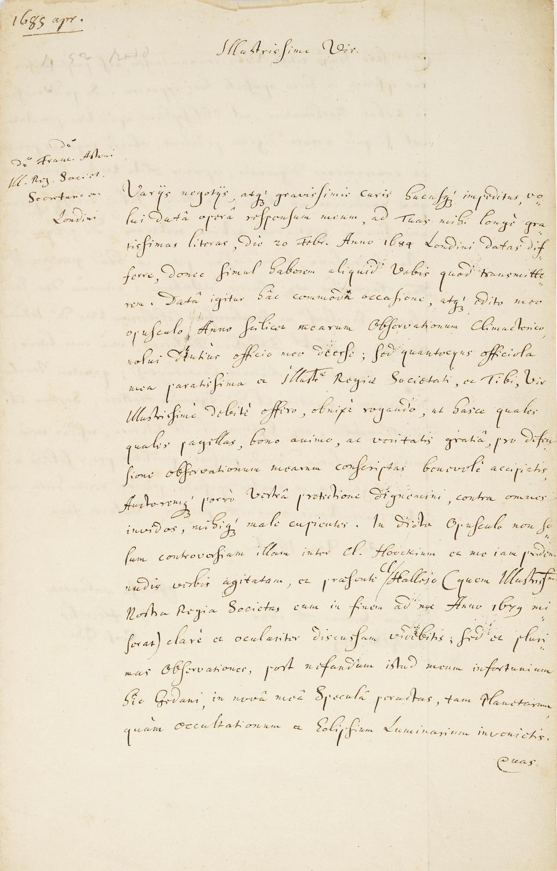 "HEVELIUS, JOHANNES. 1611-1687. 2 Autograph Letters Signed (""Jos. Hevelius"" and ""J. Hevelio""), in Latin, to Royal Society Secretary Francis Aston,"