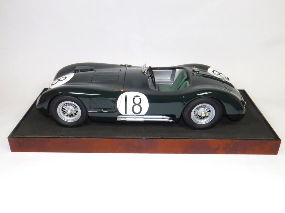 A 1:8 scale model of the 1953 Le Mans winning 1953 Jaguar C-Type by Javin Smith, English,