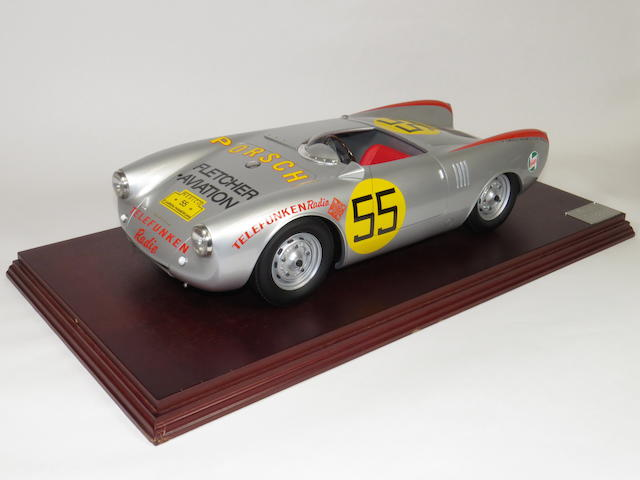 "A 1:8 scale model of a 1954 Porsche 550 Spyder Carrera Panamericana ""Fletcher Aviation"" by R.A.E. Models, English, early 2000s,"