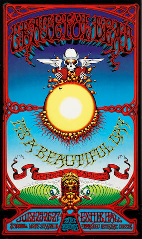 "A REPRODUCTION RICK GRIFFIN GRATEFUL DEAD POSTER FEATURING THE ""SURFING EYEBALL"""