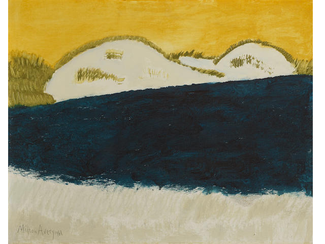Milton Avery (1885-1965) Dunes and Blue Sea 24 3/4 x 29 7/8in (62.9 x 75.9cm) (Painted in 1961.)