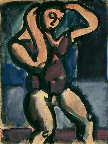 GEORGES ROUAULT (1871-1958)<I> Le lutteur</i> 15 1/2 x 11 1/2 in (39.4 x 29.2 cm)