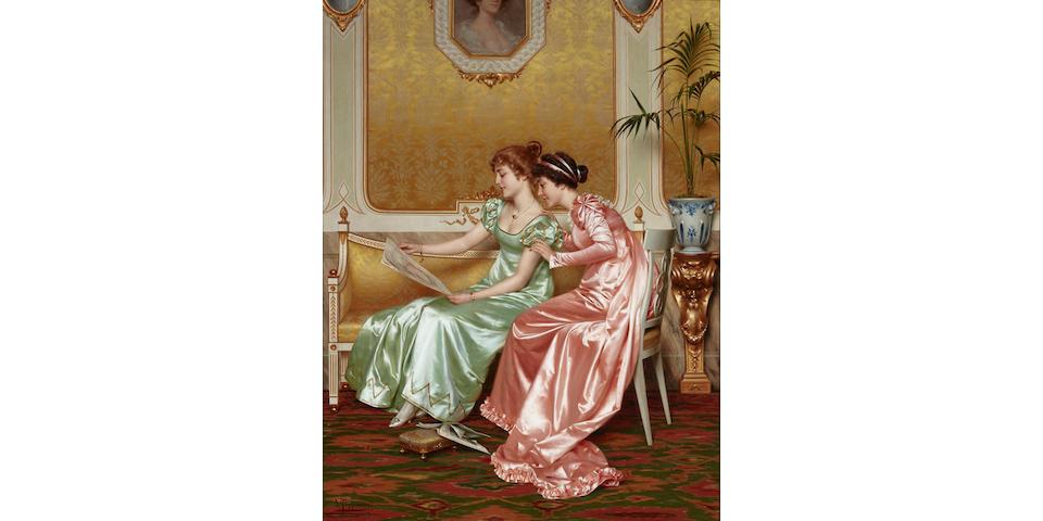 Vittorio Reggianini (Italian, 1858-1939) Two elegant young ladies in an interior perusing a magazine 33 1/4 x 25 1/2in (84.5 x 64.8cm)