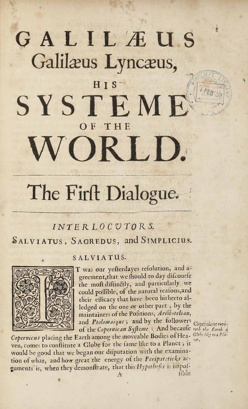 GALILEO, GALILEI. 1564-1642. SALUSBURY, THOMAS. The Systeme of the World in Four Dialogues. [In:] Mathematical Collections and Translations.