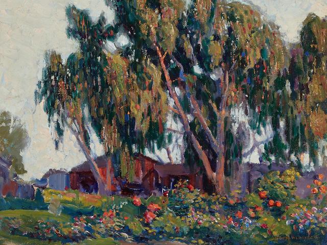 Joseph Kleitsch (1882-1931) Geraniums in Bloom (Laguna Beach) 18 x 21in (Painted circa 1920.)