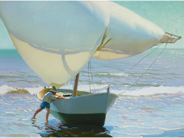 Arthur Grover Rider (1886-1975) Bringing in the Boat 29 1/4 x 33 1/4in