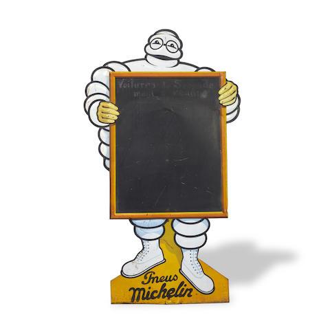 A large Michelin Mr Bibendum chalkboard sign, French c.1930s,
