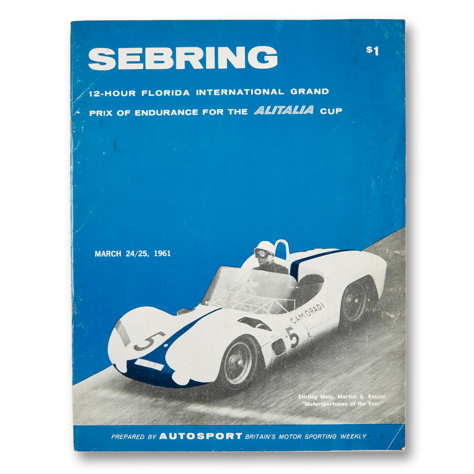 The 1960 12 Hours of Sebring Alitalia Cup presented to Stirling Moss,