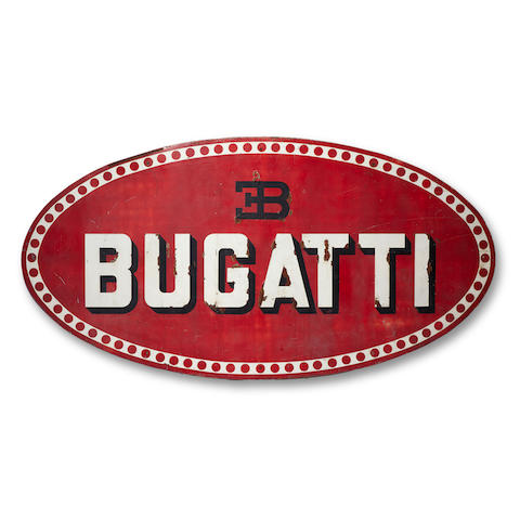A large metal Bugatti sign,
