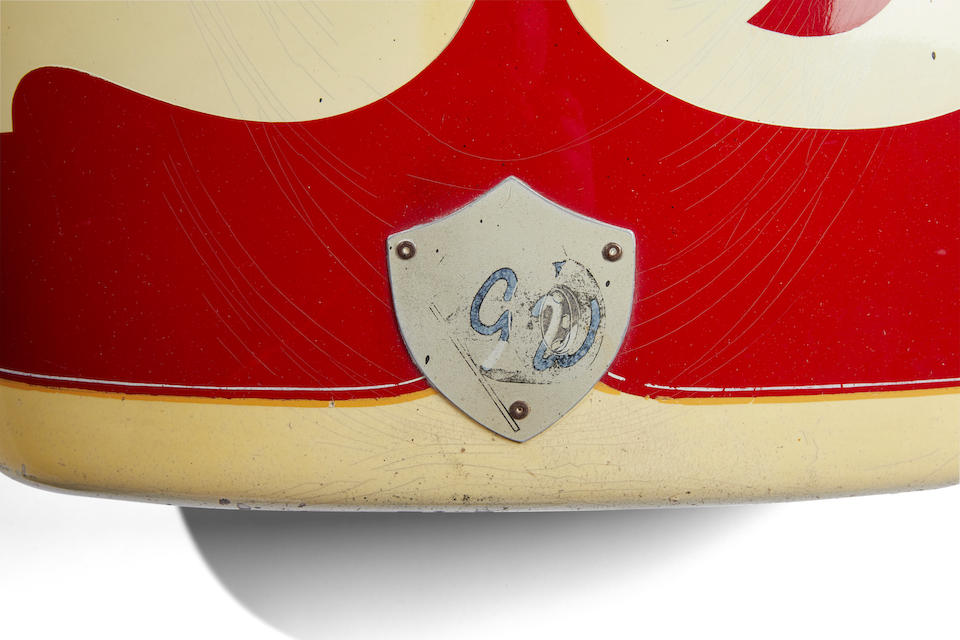 The nose cone from 1967 Dave Laycock Mongoose Indy Car raced by Lloyd Ruby,