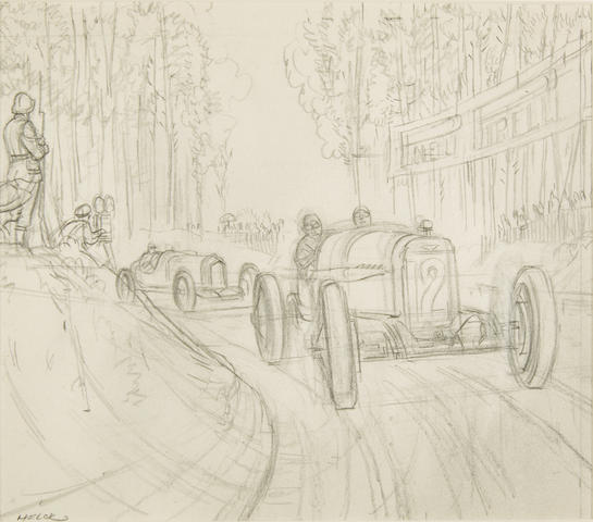 A pencil sketch of the 1921 French Grand Prix by Peter Helck,
