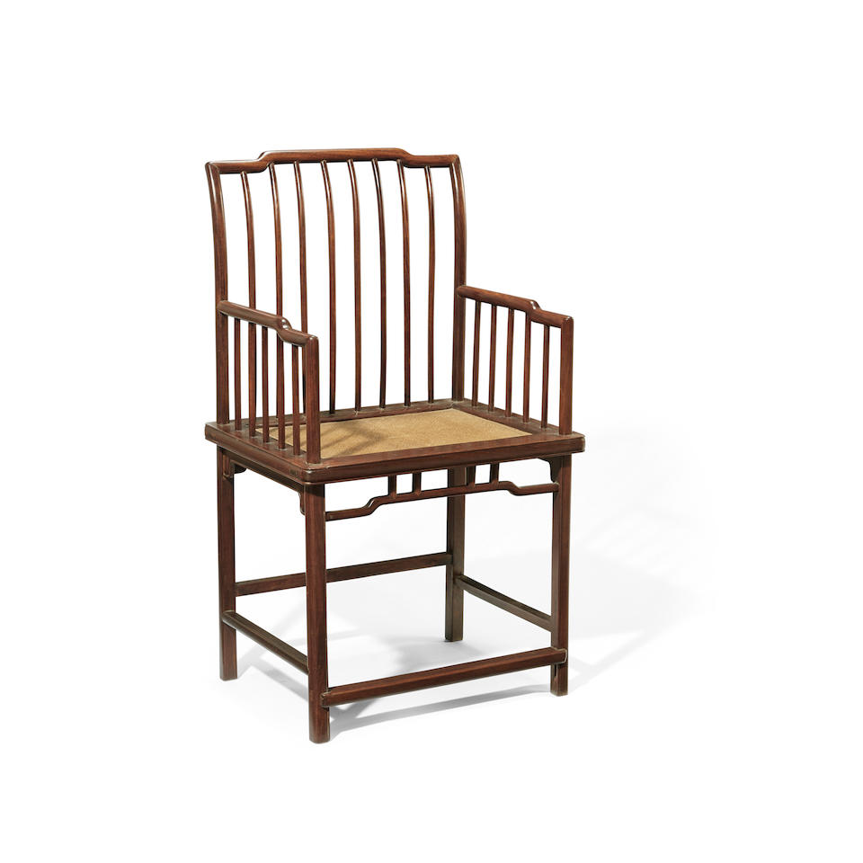 A PAIR OF HONGMU SPINDLE-BACK ARMCHAIRS 20th century