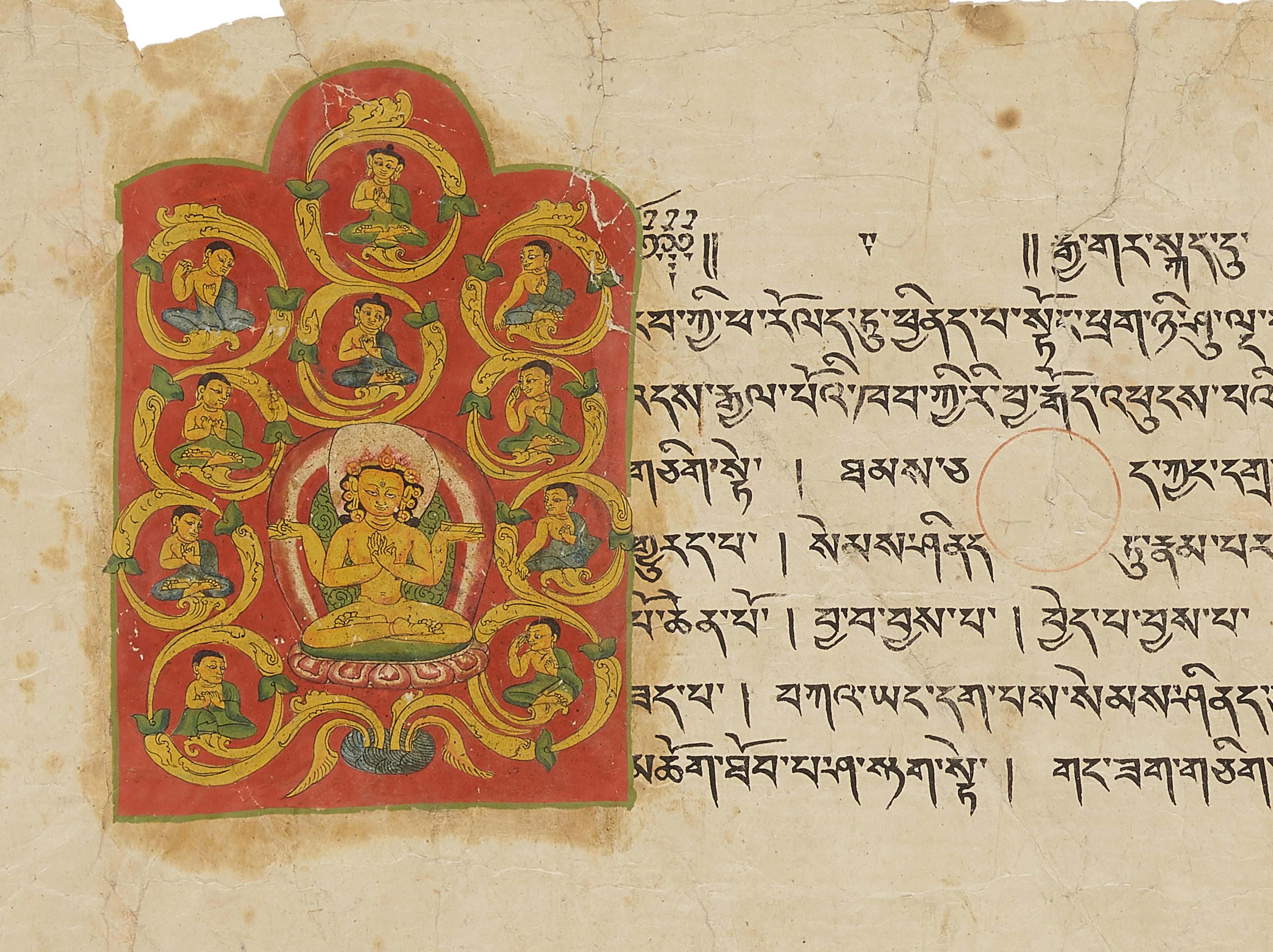 AN ILLUMINATED SUTRA PAGE  GUGE, WEST TIBET, 13TH/14TH CENTURY