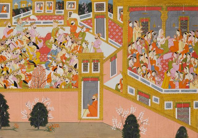 AN ILLUSTRATION FROM A HARIVAMSA-PARIJATA SERIES SCHOOL OF PURKHUKANGRA, CIRCA 1800-1810