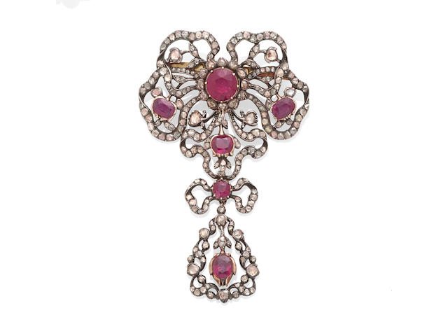 A Ruby and Diamond Brooch, 2nd Half of the 19th Century