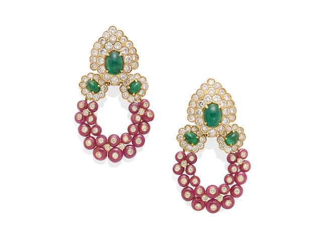 A pair of Gold, Emerald, Diamond and Ruby ear pendants, Italian