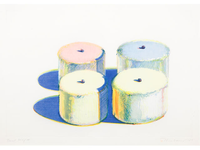 Wayne Thiebaud (born 1920); Four Cakes, from Recent Etchings I;