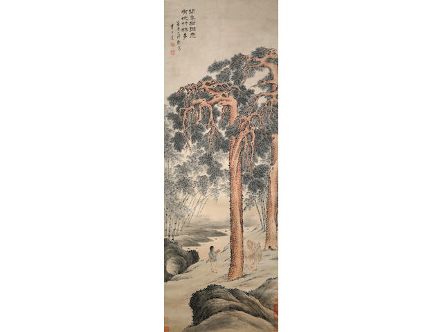 Li Shida (1550-1620) Scholar with Attendant under a Pine Tree, 1615