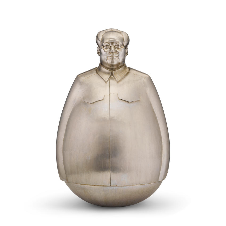 Zheng Lu (born 1978) Mao Never Down2007stainless steel, edition 1/8, signed in Chinese, dated and numberedheight 90in (228.6cm); diameter at widest 56in (142.2)