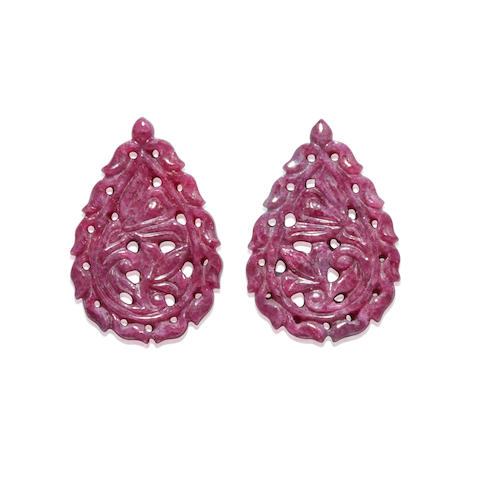 Pair of Carved Ruby Drops