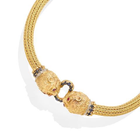 A sapphire, ruby and diamond necklace,  Ilias Lalaounis