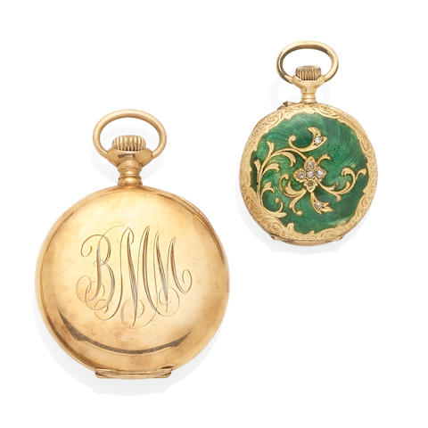 A gold and enamel pocket watch together with a gold pocket watch