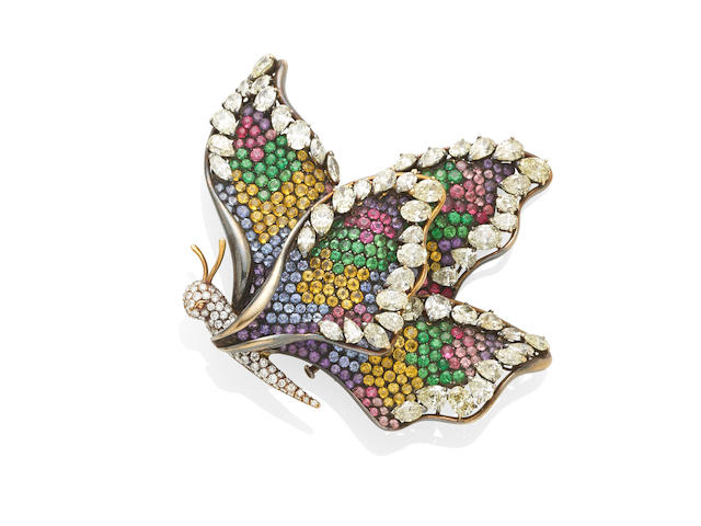 A diamond and colored stone butterfly brooch, France