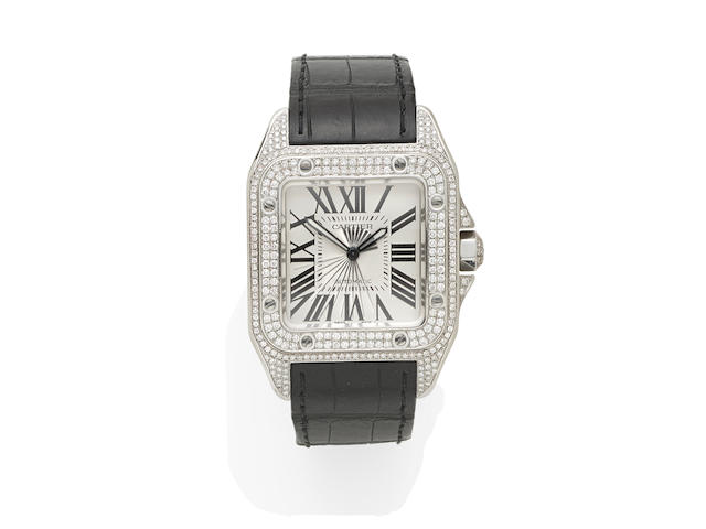 A stainless steel and diamond set wristwatch