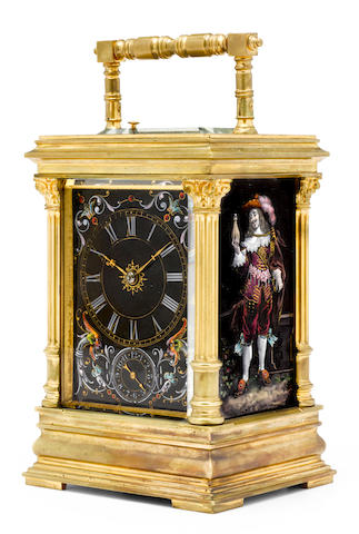 A fine quarter repeating alarm carriage clock with Limoges enamel panelsLast quarter 19th century