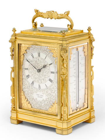 A fine and rare engraved gilt brass quarter striking carriage clock with manual calendar and thermometerThomas Cole, London Mid 19th century