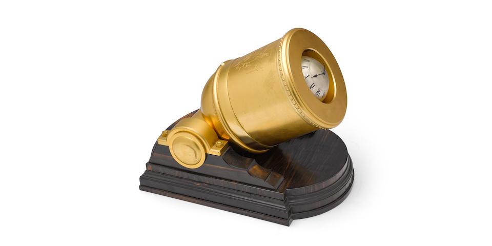 "A fine and rare mid 19th century gilt brass and coromandel giant ""Mortar"" timepiece Thomas Cole, London, no. 1600"