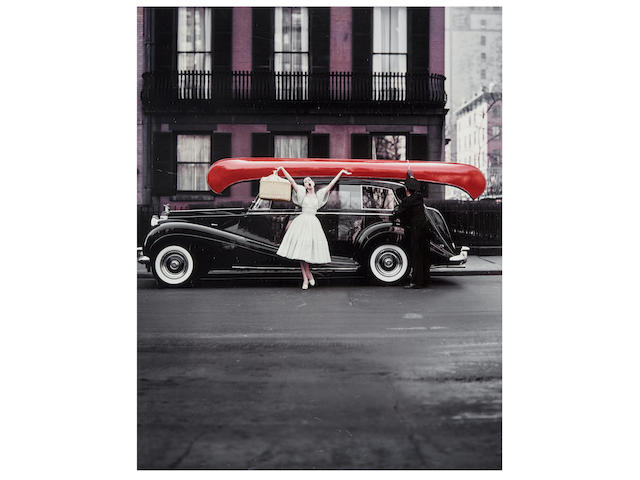 William Helburn (born 1924); Red Canoe (Barbara Mullen, Dress by John Moore for Talmack, chiffon chambray fabric by Hope Skillman, Gramercy Park, NYC);