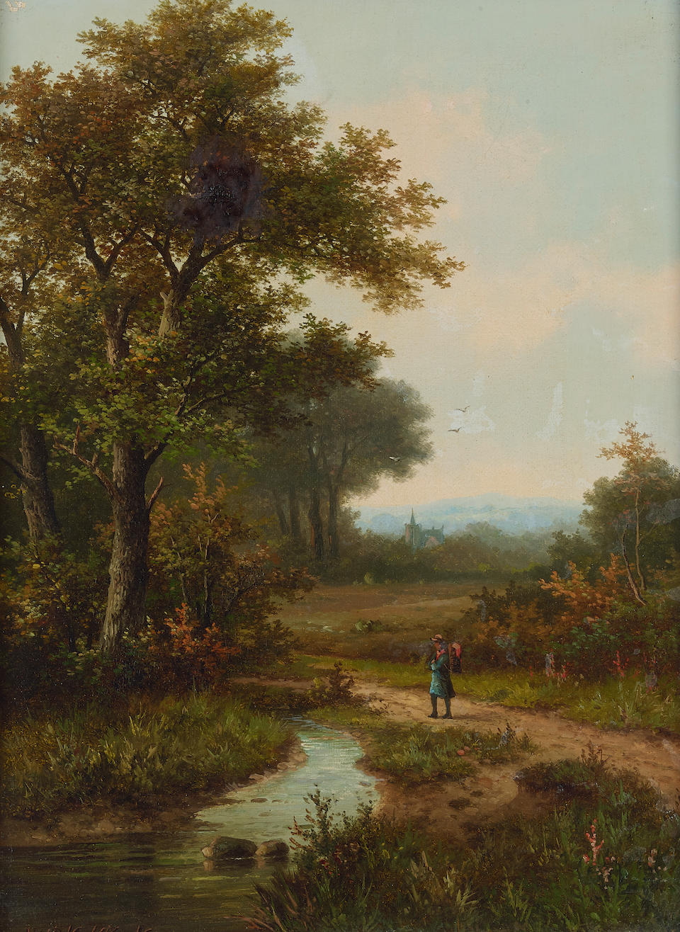 Hendrik Pieter Koekkoek (Dutch, 1843-1927) A landscape with a traveler on a path; and a companion painting (a pair) each 16 x 12in (40.7 x 30.5cm)