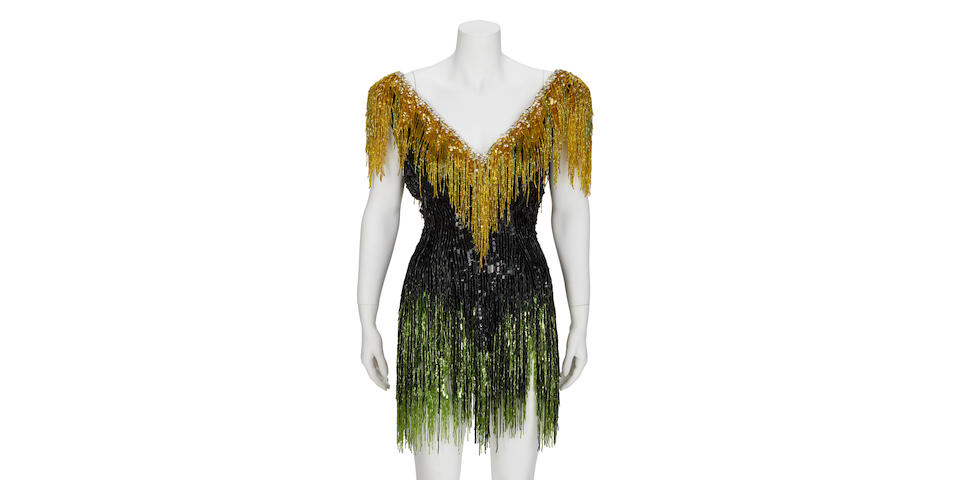 A Mitzi Gaynor stage-worn beaded mini-dress designed by Bob Mackie