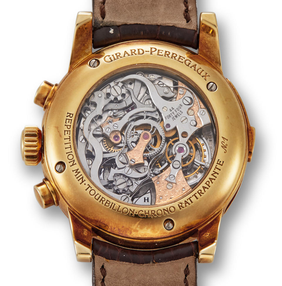 Girard Perregaux. A fine and rare minute repeating wristwatch with tourbillon escapement and split second chronograph Ferrari, 1999