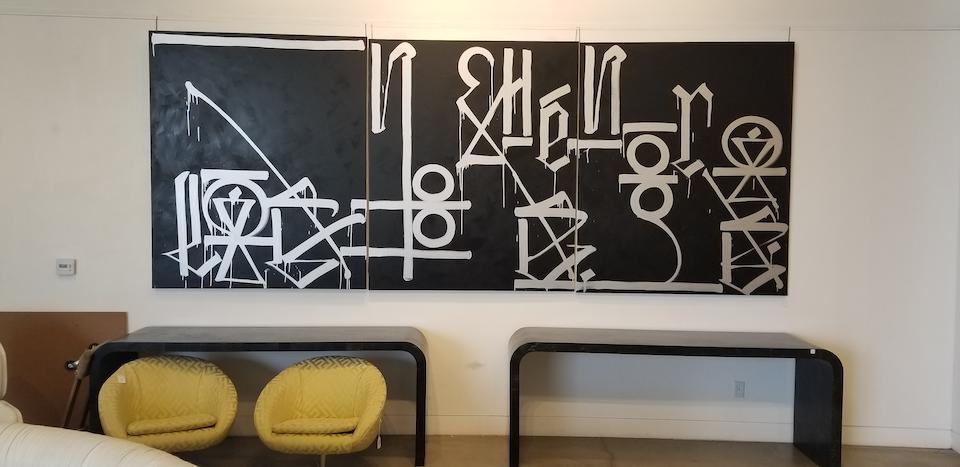 RETNA (born 1979) Untitled (Triptych)circa 2007acrylic on canvas, signed along lower right edgeeach canvas 72 x 60in (182.9 x 152.3cm); overall 72 x 180in (182.9 x 457.2cm)
