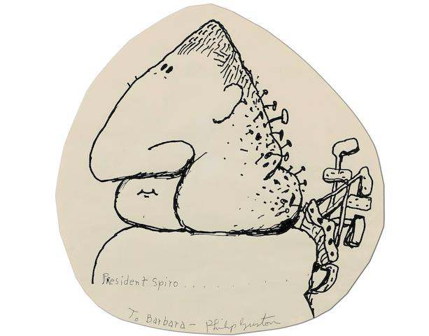 Philip Guston (American, 1913-1980) Untitled (President Spiro) c. 1971 10 1/2 x 10 in (26.6 x 25.4 cm)