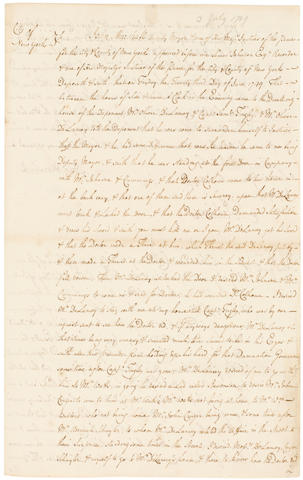 NEW YORK CITY DUEL. Manuscript Depositions, 3 pp recto and verso, legal folio, New York, July 3, 1749, signed by SIMON JOHNSON as Justice of the Peace,