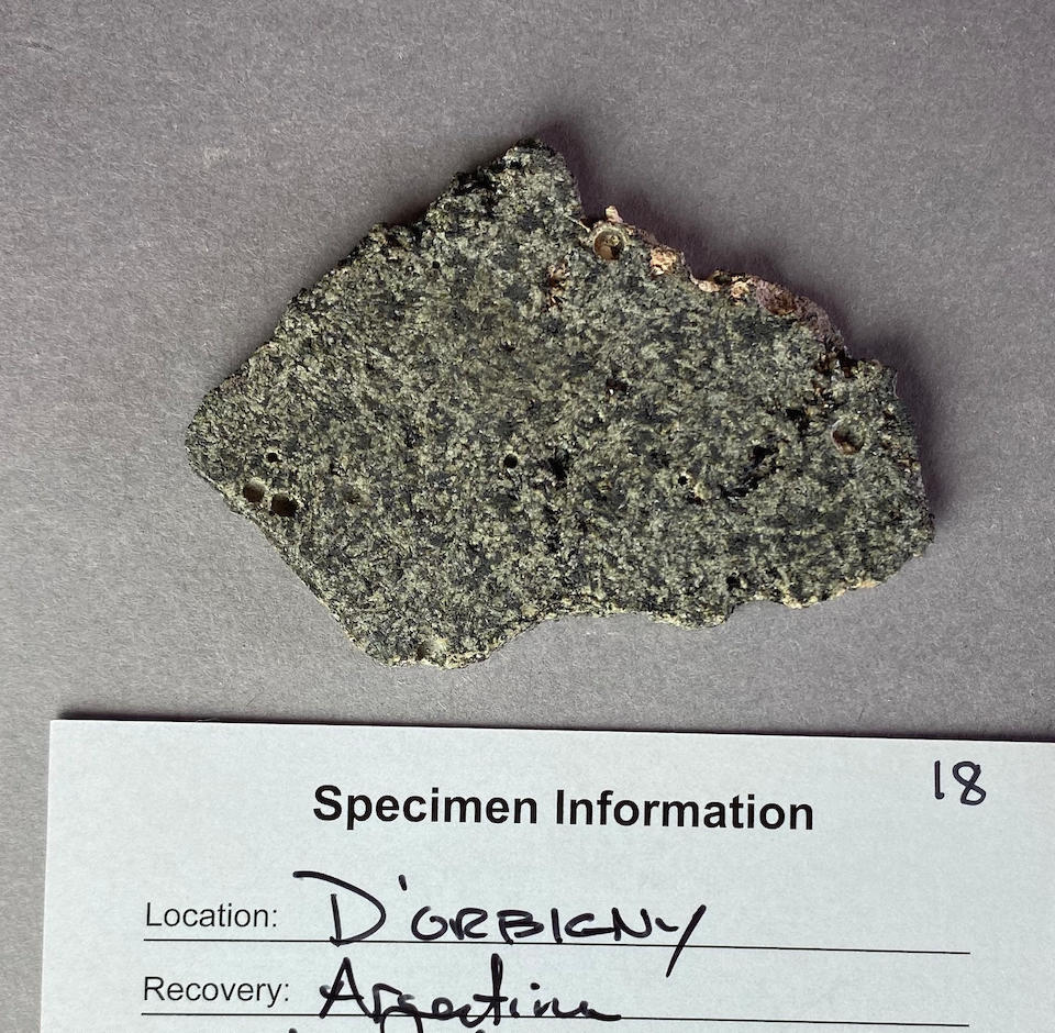 D'Orbigny, an Angrite Meteorite – Complete Polished Slice
