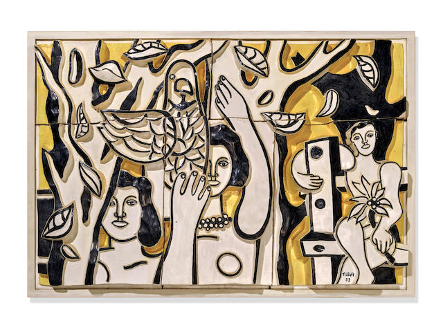 FERNAND L&#201;GER (1881-1955) <i>Femmes aux perroquets</i> 31 3/4 x 46 1/2 in (81 x 118 cm) (Executed in 1953; unique)