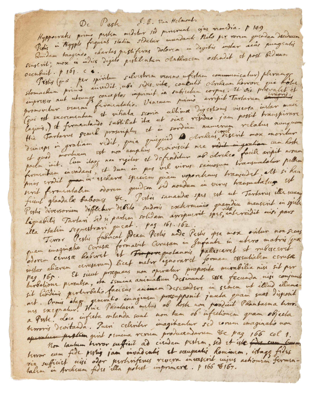 "ISAAC NEWTON ON THE PLAGUE. NEWTON, ISAAC. 1642-1726/7. Autograph Manuscript, being Newton's notes on reading Van Helmont's ""De Peste,"""