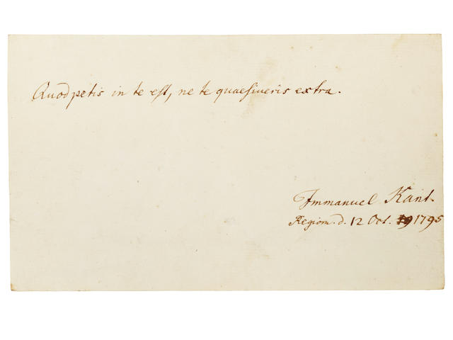 "KANT'S COPERNICAN REVOLUTION. KANT, IMMANUEL. 1724-1804. Autograph Quotation Signed (""Immanuel Kant""), from an album amicorum,"