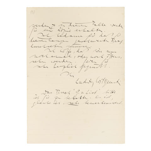 "GÖDEL'S INCOMPLETENESS THEOREMS AND PHILOSOPHY OF MATH. WITTGENSTEIN, LUDWIG. 1889-1951. Autograph Letter Signed (""Ludwig Wittgenstein"") to Moritz Schlick discussing Gödel's incompleteness theorems,"