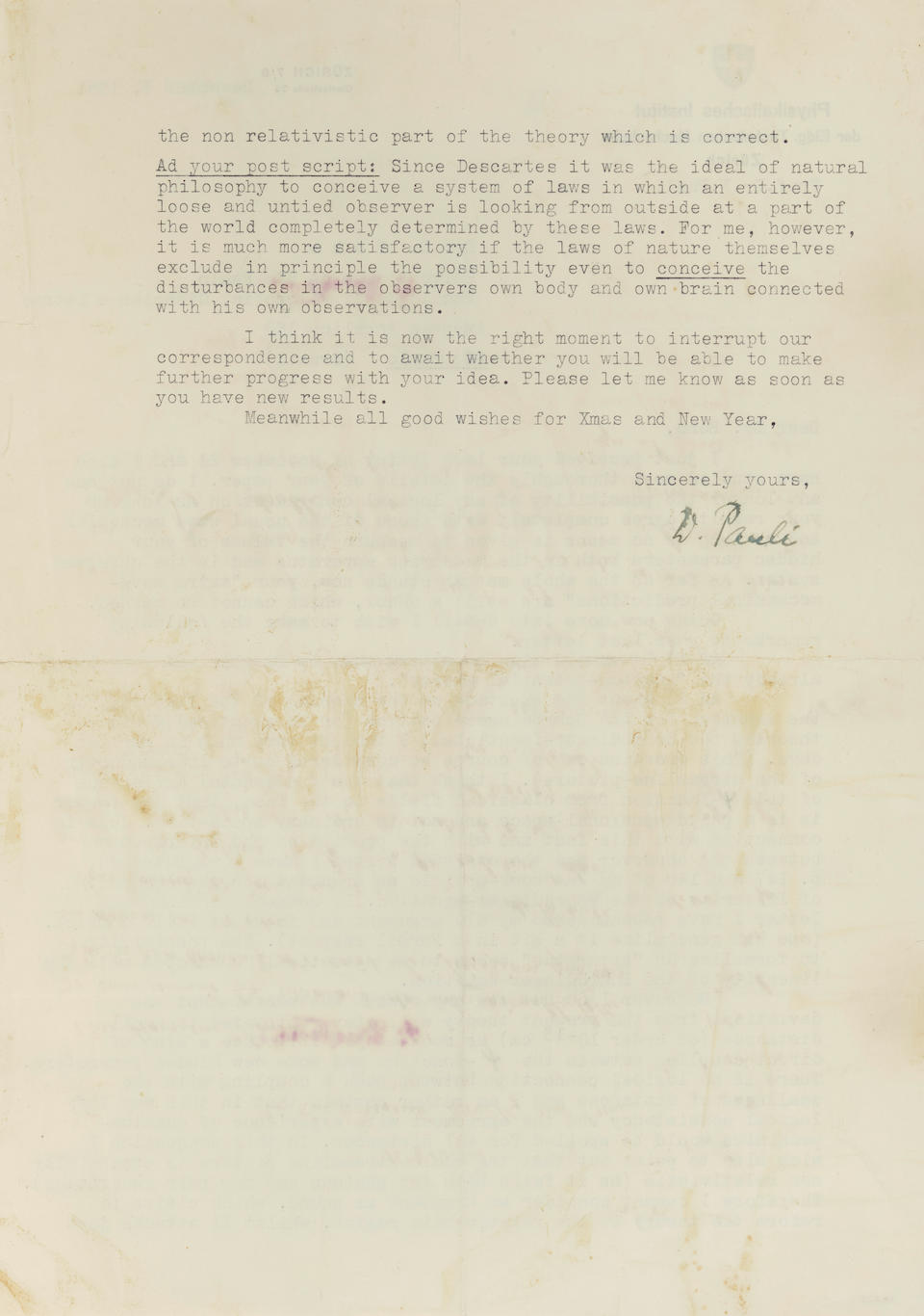 """AT THE DAWN OF QUANTUM CONSCIOUSNESS. PAULI, WOLFGANG. 1900-1958.; BOHM, DAVID. 1917-1992.  Typed Letter Signed (""""W. Pauli"""") to physicist David Bohm offering his second and final critique of Bohm's hugely influential 1952 paper,"""
