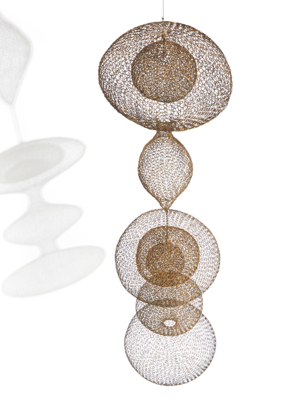 Ruth Asawa (American, 1926-2013) Untitled (S.408, Hanging Five-Lobed, Two-Part Form, with the Second and Third Lobes Attached by Chain and Interior Spheres in the First and Third Lobes) circa 1953-1954