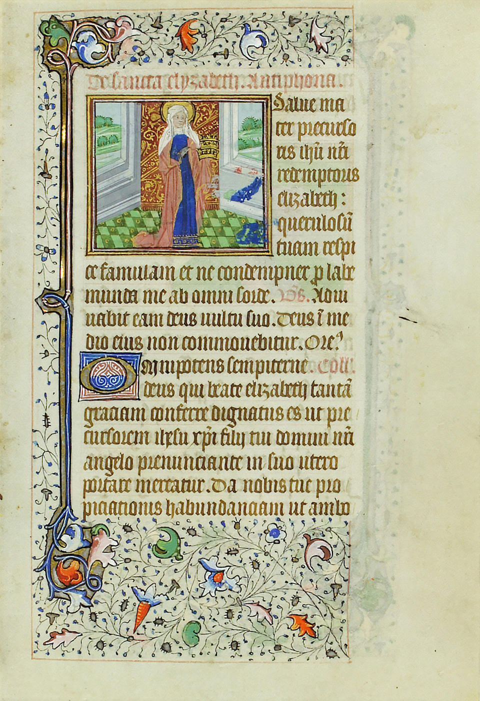 MINIATURES OF MALE AND FEMALE SAINTS. Illuminated manuscript on vellum, [Bruges, c. 1465]. Two leaves from a book of hours, gothic book hand, each 181 x 127 mm single column, 16 lines of text (17 on verso) and 19 lines.