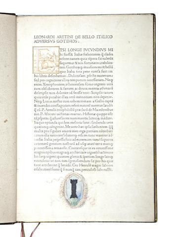 BRUNUS ARETINUS, LEONARDUS. 1369-1444.  De bello Italico adversus Gothos gesto. Venice: Nicolas Jenson, 1471.