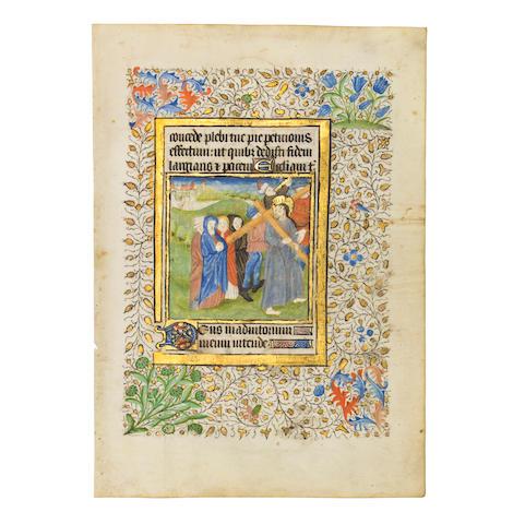 MINIATURE OF CHRIST CARRYING THE CROSS. Illuminated manuscript on vellum, [Probably Paris, c. 1420].