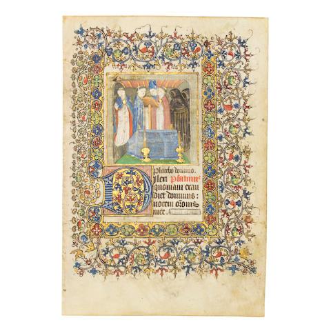 MINIATURE OF A FUNERAL. Illuminated manuscript on vellum, [probably Paris, c. 1420].